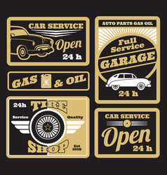 black golden retro car service labels set vector image
