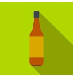 Brown beer bottle flat icon vector