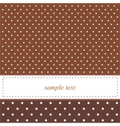Brown card or invitation with white polka dots vector