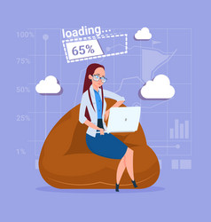 Business woman use laptop computer loading vector