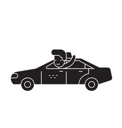 car ride black concept icon car ride flat vector image
