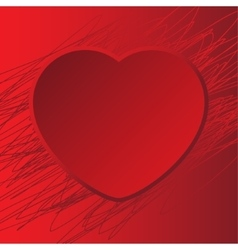 card with red heart background scribble vector image
