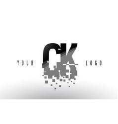 Ck c k pixel letter logo with digital shattered vector