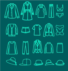 clothes linear icons collection woman cloth vector image