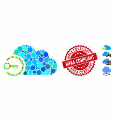 collage cloud login icon with grunge hipaa vector image