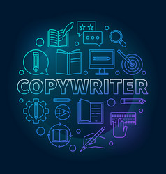 Copywriter blue round in line vector