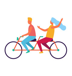 couple riding on tandem or twin bicycle isolated vector image