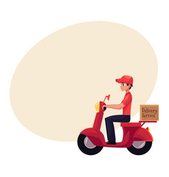 Courier delivery service worker riding scooter vector