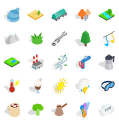 Cozy place icons set isometric style vector
