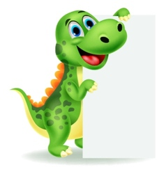 Cute dinosaur cartoon with blank sign vector