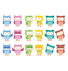 cute little owl cartoon isolated set vector image