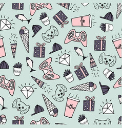 Cute seamless pattern with hand-drawn doodles vector