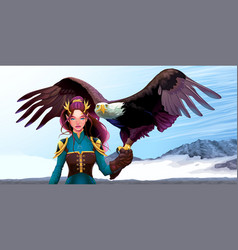 Eagle trainer elf on the mountains vector