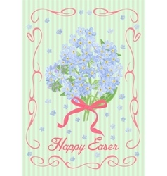 Easter vintage card with a bouquet forget-me-not vector