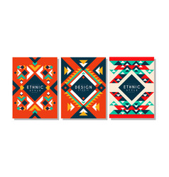 ethnic style cards set colorful flyer brochure vector image