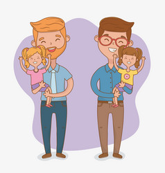 fathers and daughters characters card vector image