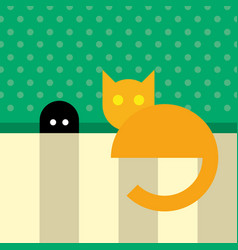 Funny orange cat sitting near mouse hole vector