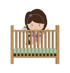 Girl standing in crib with baby bottle vector