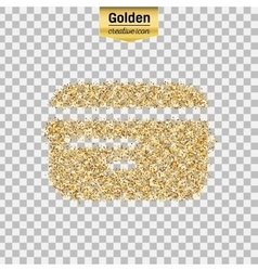 Gold glitter icon of credit card isolated vector