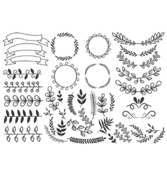 Hand Drawn Decorative Elements Set vector image