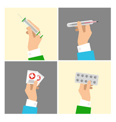 Hands holding medical equipments and pills set vector