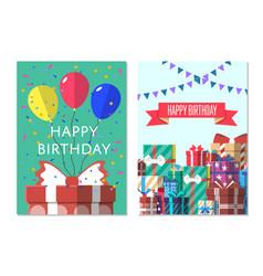 Happy birthday greeting card design set vector