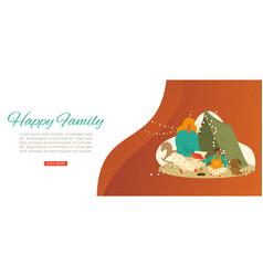 happy family lettering banner parental love vector image