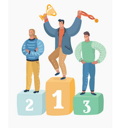 haracter of men winners who hold trophies vector image