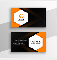 Hexagonal shape black and orange yellow business vector