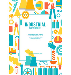 industrial icons set poster vector image
