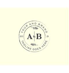 Initial ab letters floral frames botanical vector