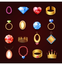 Jewelry icon set vector image