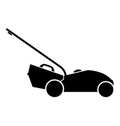 Lawn mower icon black color flat style simple vector