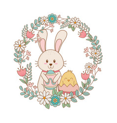 little rabbit and chick with egg painted in floral vector image