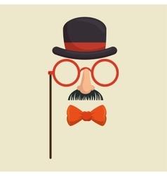 Mask gentleman hat and glasses mustache bowtie vector