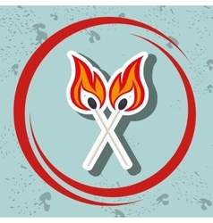 Match flame danger icon vector