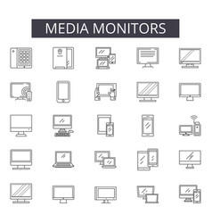 media monitors line icons for web and mobile vector image