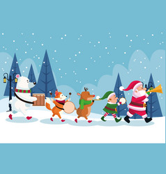 Merry christmas card with characters playing vector