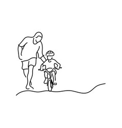 minimalist father teaching his daughter vector image