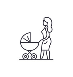 Mom with a bacarriage line icon concept mom vector