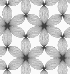 Monochrome gray striped six pedal flowers vector