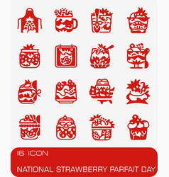 National strawberry parfait day icon set vector