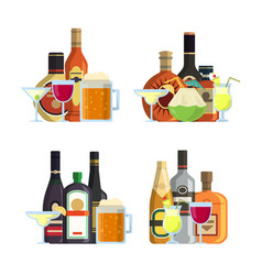 Piles of alcoholic drinks in glasses and vector