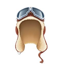 Pilot leather helmet winter vector