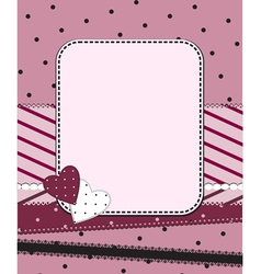 Pink frame with two hearts vector