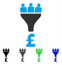 Pound sales funnel flat icon vector