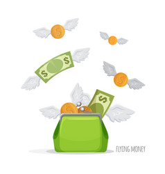 Purse with flying dollar bills and coins vector