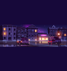 Rainy street wet weather in night town with cars vector
