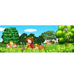 Scene with children and pet in the park vector image