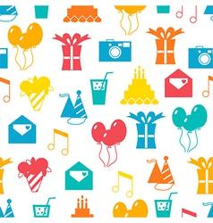 Seamless holiday pattern happy birthday festive vector image